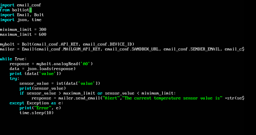 Error in code for, Sending an Email when Temperature Crosses