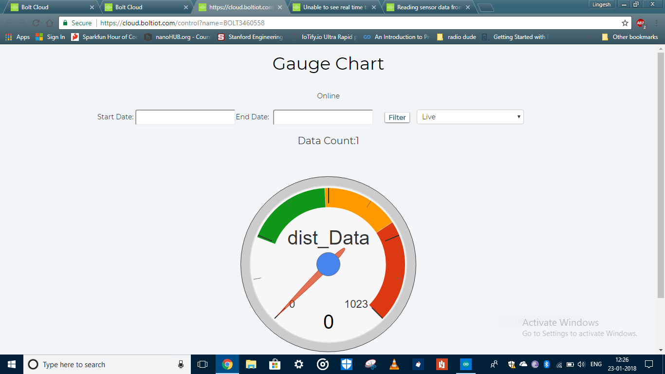 Reading sensor data from arduino to the cloud - Data